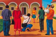 Turisté/Tourists, 2004, olej na plátně/oil on canvas, 45x60cm